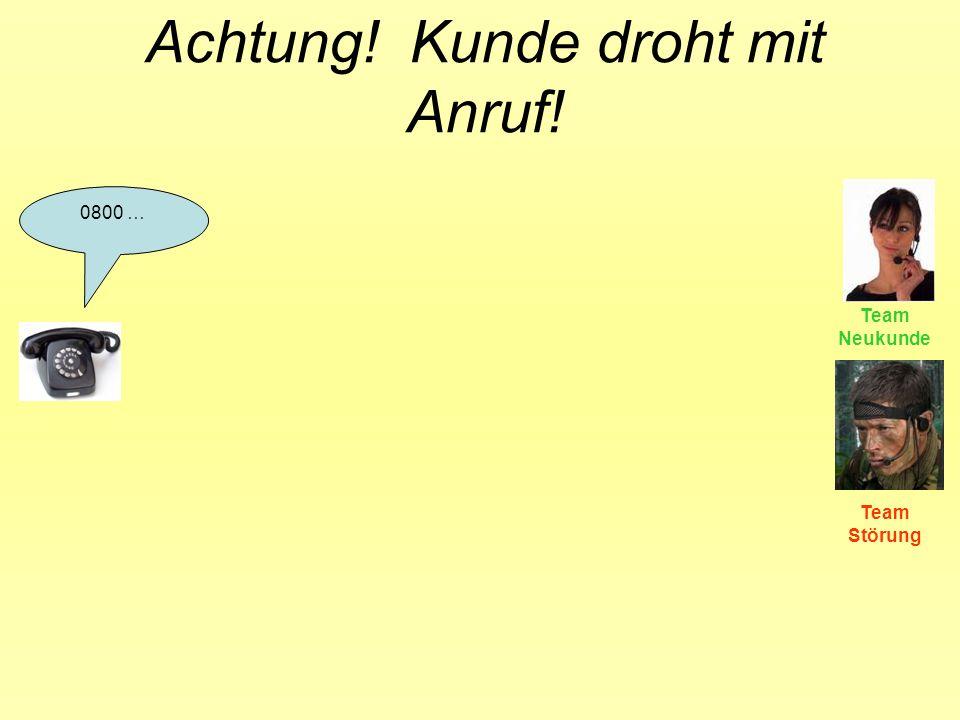 Achtung! Kunde droht mit Anruf! 0800 … Team Neukunde Team Störung