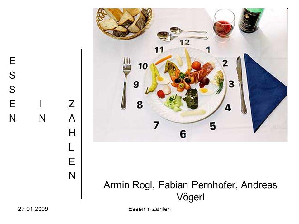 27.01.2009Essen in Zahlen Armin Rogl, Fabian Pernhofer, Andreas Vögerl ESSEIZNNAHLENESSEIZNNAHLEN