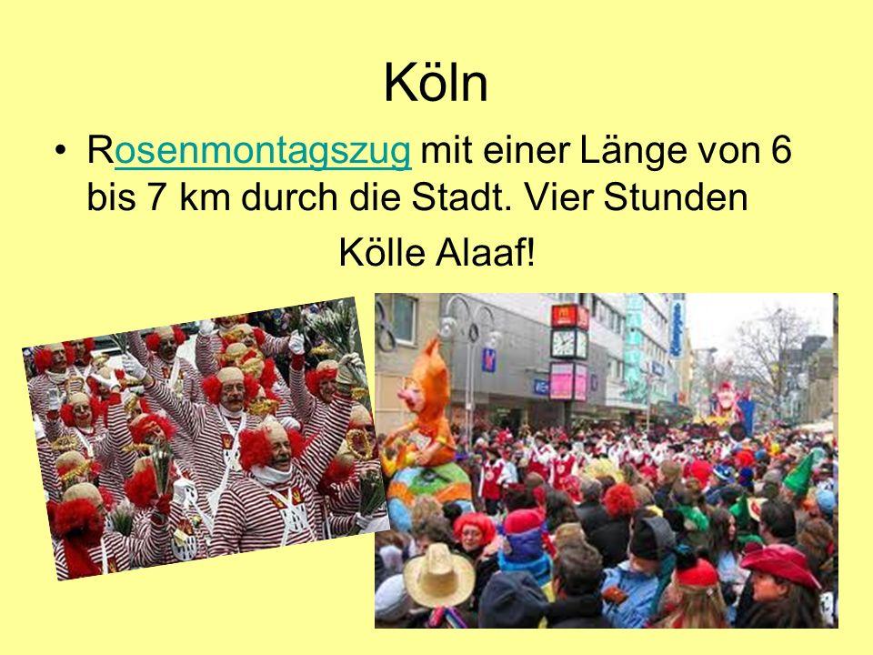 Köln Rosenmontagszug mit einer Länge von 6 bis 7 km durch die Stadt. Vier Stundenosenmontagszug Kölle Alaaf!