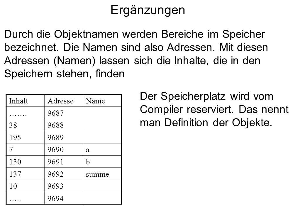 Ergänzungen Durch die Objektnamen werden Bereiche im Speicher bezeichnet. Die Namen sind also Adressen. Mit diesen Adressen (Namen) lassen sich die In