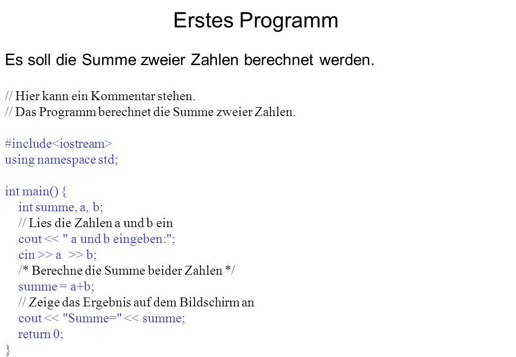 Erstes Programm Es soll die Summe zweier Zahlen berechnet werden. // Hier kann ein Kommentar stehen. // Das Programm berechnet die Summe zweier Zahlen
