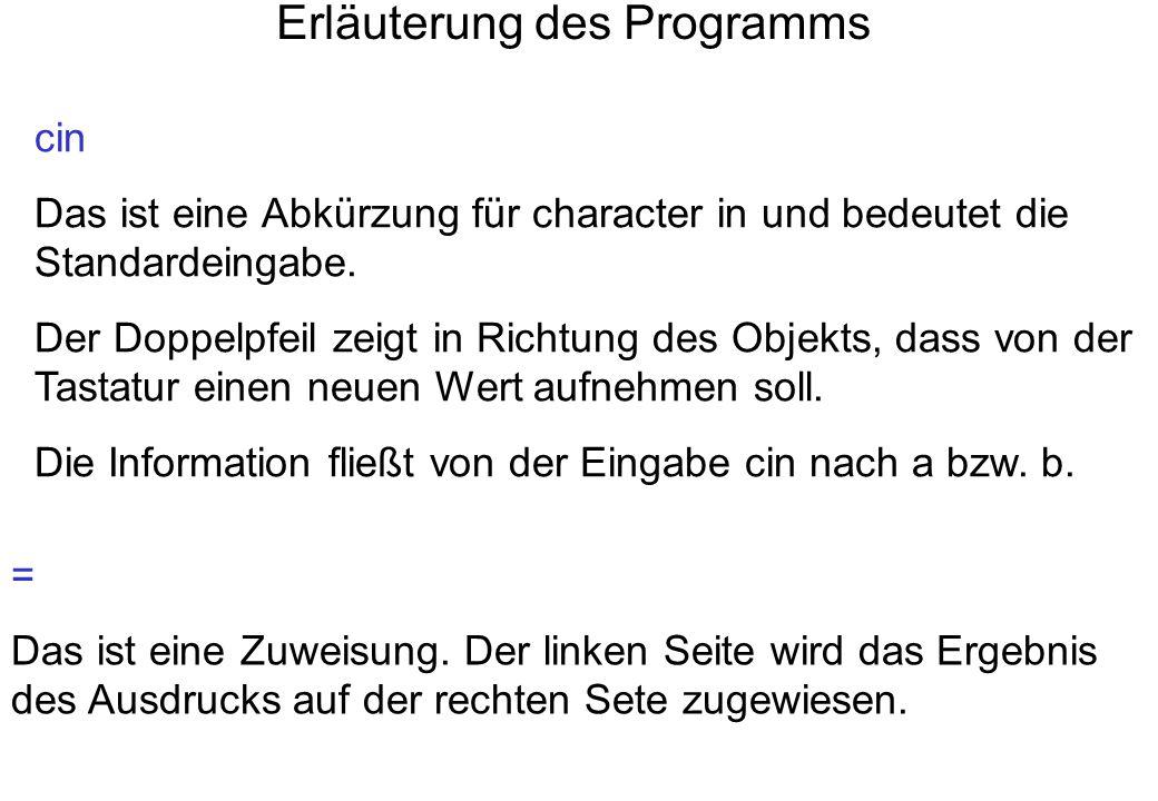 Erläuterung des Programms cin Das ist eine Abkürzung für character in und bedeutet die Standardeingabe. Der Doppelpfeil zeigt in Richtung des Objekts,