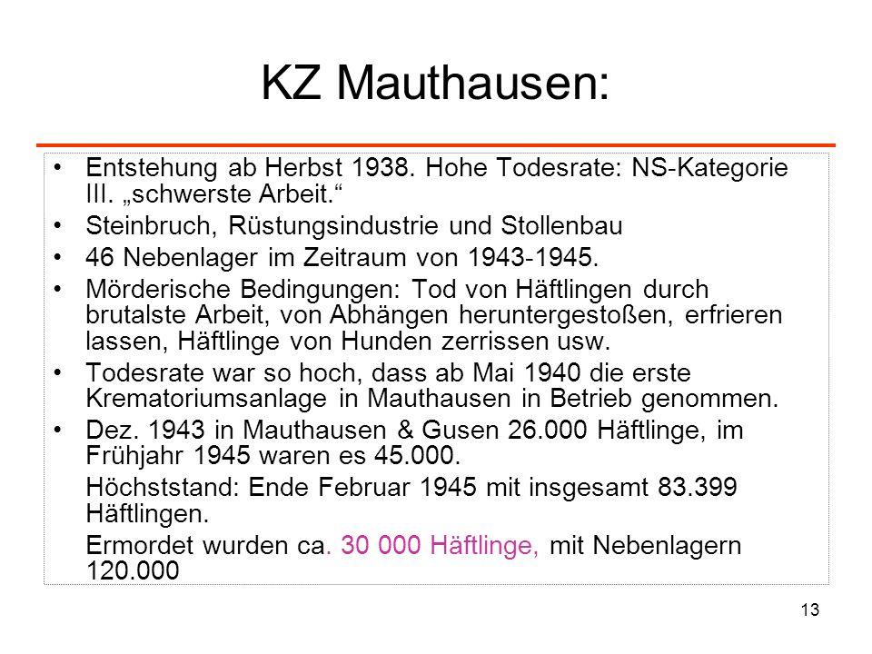 13 KZ Mauthausen: Entstehung ab Herbst 1938. Hohe Todesrate: NS-Kategorie III. schwerste Arbeit. Steinbruch, Rüstungsindustrie und Stollenbau 46 Neben