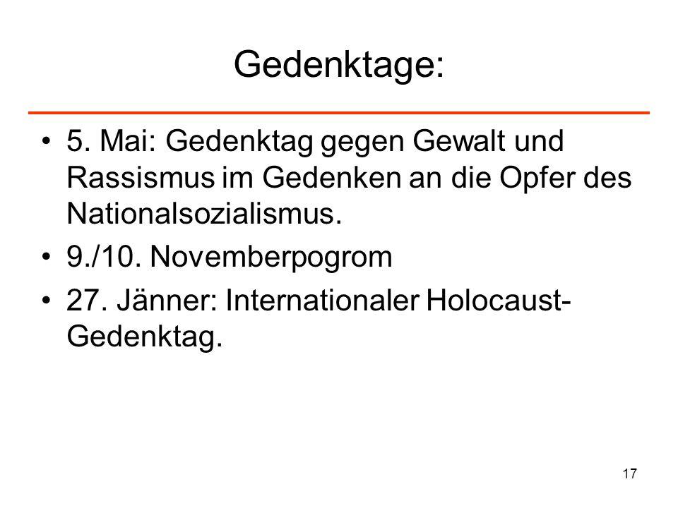 17 Gedenktage: 5. Mai: Gedenktag gegen Gewalt und Rassismus im Gedenken an die Opfer des Nationalsozialismus. 9./10. Novemberpogrom 27. Jänner: Intern