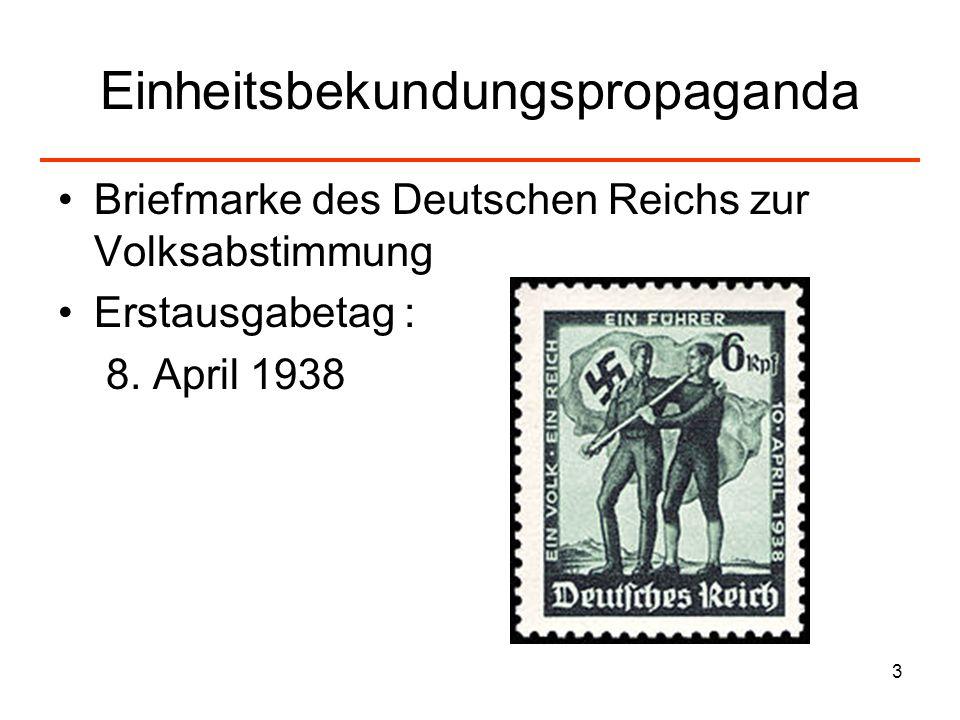 3 Einheitsbekundungspropaganda Briefmarke des Deutschen Reichs zur Volksabstimmung Erstausgabetag : 8. April 1938