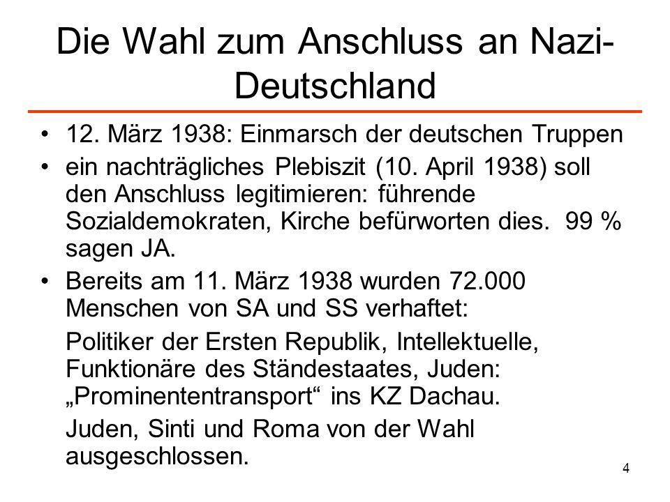 4 Die Wahl zum Anschluss an Nazi- Deutschland 12. März 1938: Einmarsch der deutschen Truppen ein nachträgliches Plebiszit (10. April 1938) soll den An