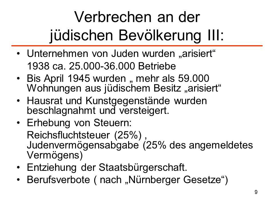 9 Verbrechen an der jüdischen Bevölkerung III: Unternehmen von Juden wurden arisiert 1938 ca. 25.000-36.000 Betriebe Bis April 1945 wurden mehr als 59