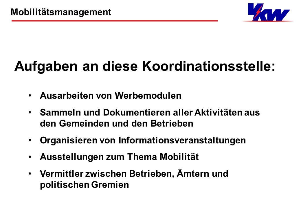 Mobilitätsmanagement Viele Akteure in den Betrieben - keine Koordination! Gründung einer Koordinationsstelle für Gemeinden und Betriebe! Ausgangslage:
