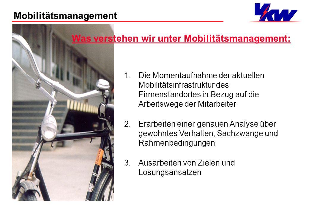 Mobilitätsmanagement Anforderungsprofil an die Mitglieder der Arbeitsgruppe: 1.Die Mitglieder müssen in ihrem Mobilitätsverhalten Vorbilder sein 2.In