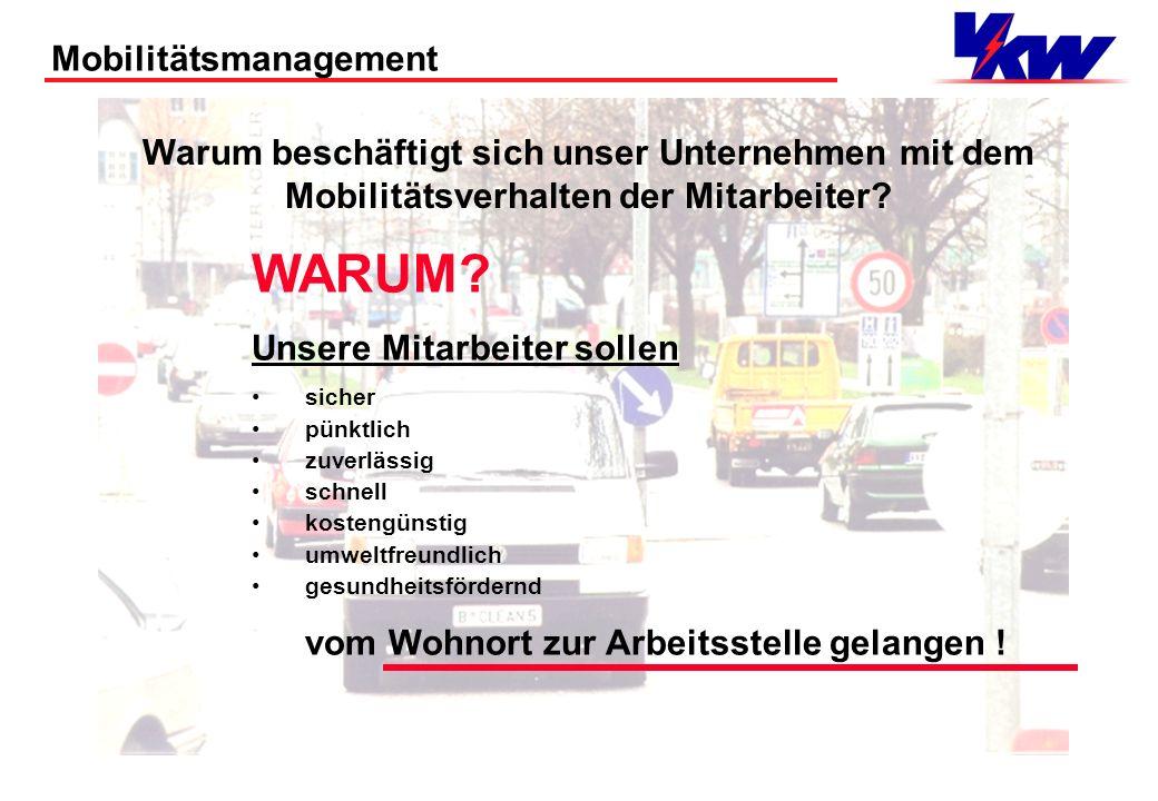 Mobilitätsmanagement Was verstehen wir unter Mobilitätsmanagement: 1.Die Momentaufnahme der aktuellen Mobilitätsinfrastruktur des Firmenstandortes in