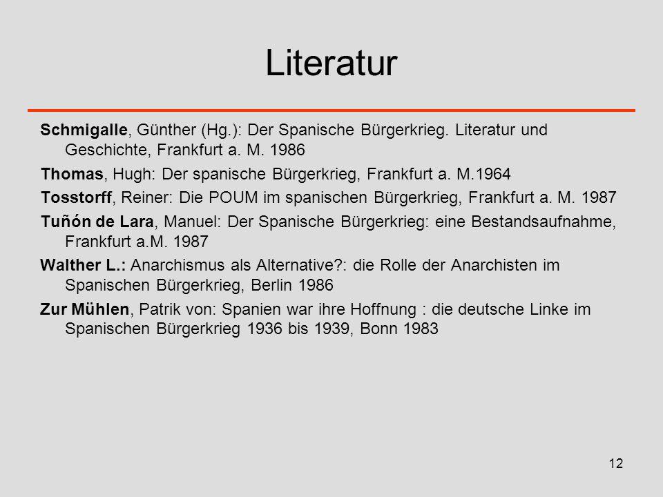 12 Literatur Schmigalle, Günther (Hg.): Der Spanische Bürgerkrieg. Literatur und Geschichte, Frankfurt a. M. 1986 Thomas, Hugh: Der spanische Bürgerkr