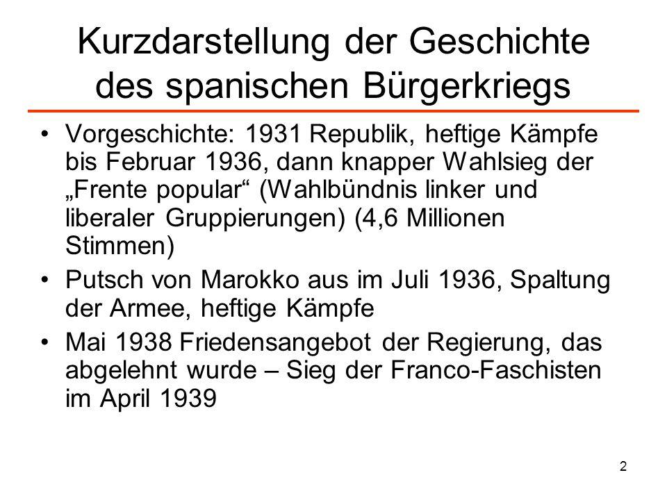 2 Kurzdarstellung der Geschichte des spanischen Bürgerkriegs Vorgeschichte: 1931 Republik, heftige Kämpfe bis Februar 1936, dann knapper Wahlsieg der