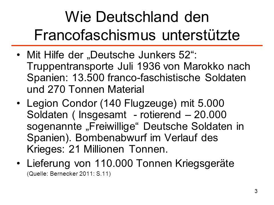 3 Wie Deutschland den Francofaschismus unterstützte Mit Hilfe der Deutsche Junkers 52: Truppentransporte Juli 1936 von Marokko nach Spanien: 13.500 fr