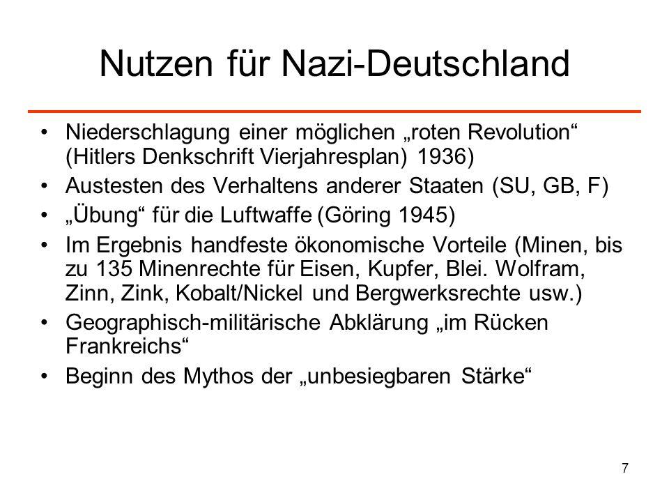 7 Nutzen für Nazi-Deutschland Niederschlagung einer möglichen roten Revolution (Hitlers Denkschrift Vierjahresplan) 1936) Austesten des Verhaltens and