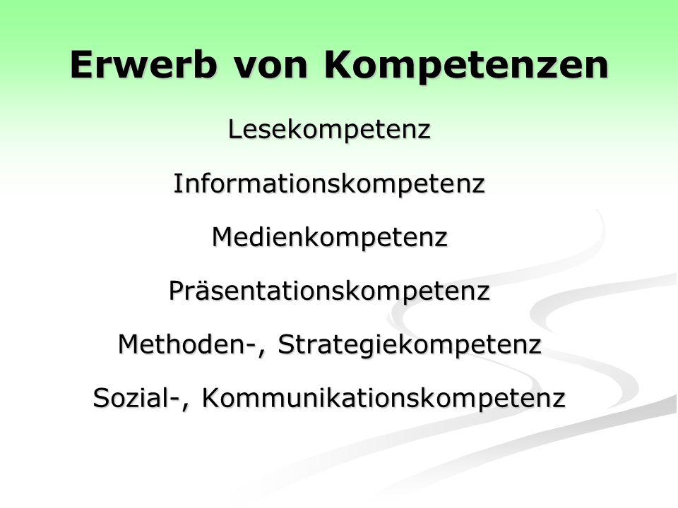 Erwerb von Kompetenzen LesekompetenzInformationskompetenzMedienkompetenzPräsentationskompetenz Methoden-, Strategiekompetenz Sozial-, Kommunikationskompetenz