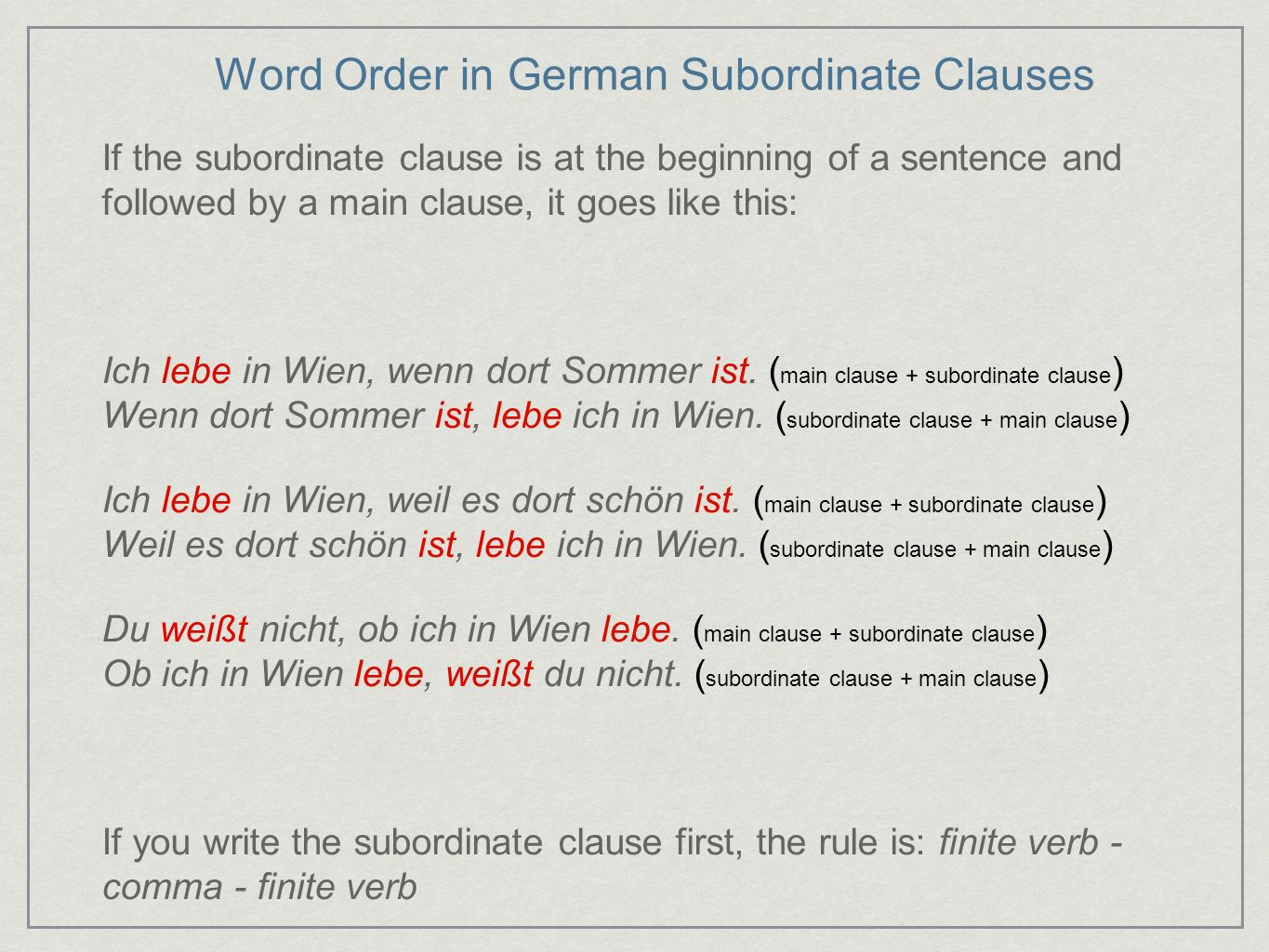Word Order in German Subordinate Clauses If the subordinate clause is at the beginning of a sentence and followed by a main clause, it goes like this:
