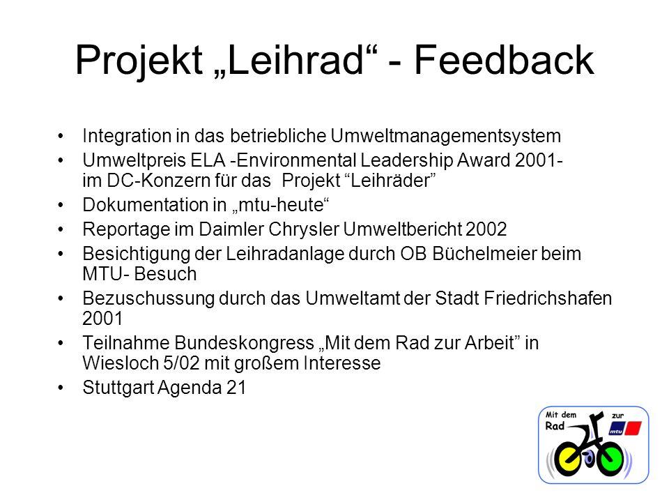 Projekt Leihrad - Feedback Integration in das betriebliche Umweltmanagementsystem Umweltpreis ELA -Environmental Leadership Award 2001- im DC-Konzern