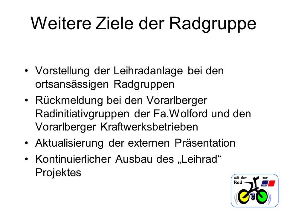 Weitere Ziele der Radgruppe Vorstellung der Leihradanlage bei den ortsansässigen Radgruppen Rückmeldung bei den Vorarlberger Radinitiativgruppen der F
