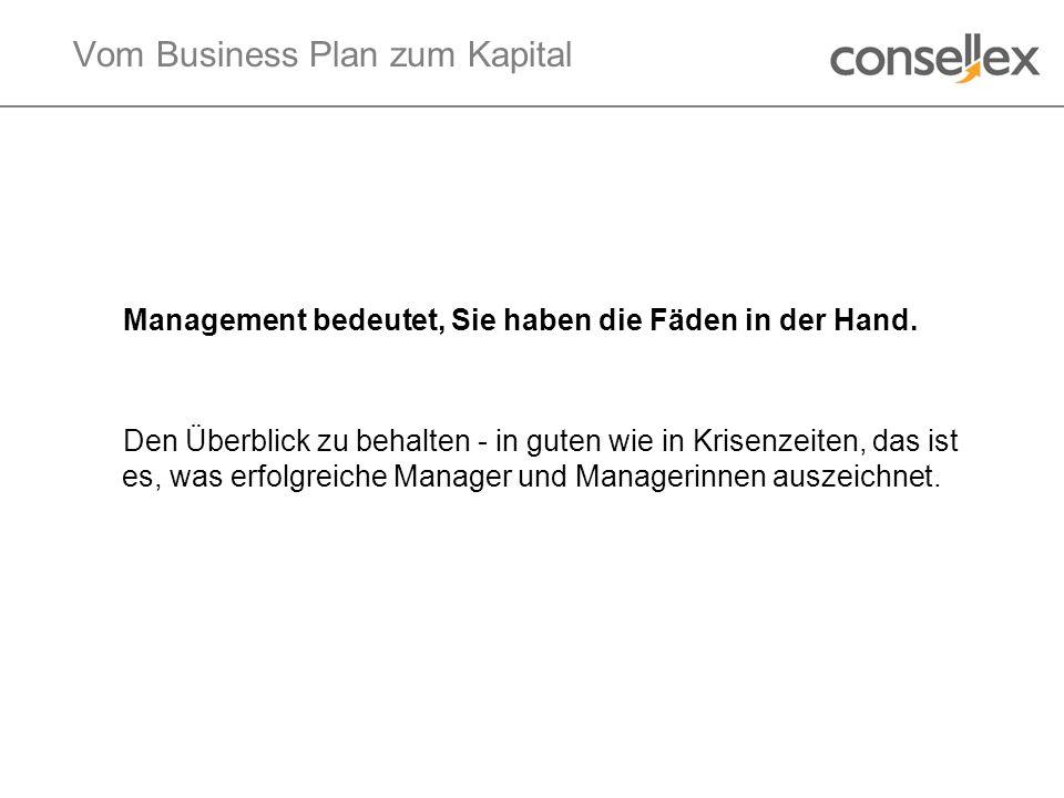 Vom Business Plan zum Kapital Management bedeutet, Sie haben die Fäden in der Hand. Den Überblick zu behalten - in guten wie in Krisenzeiten, das ist