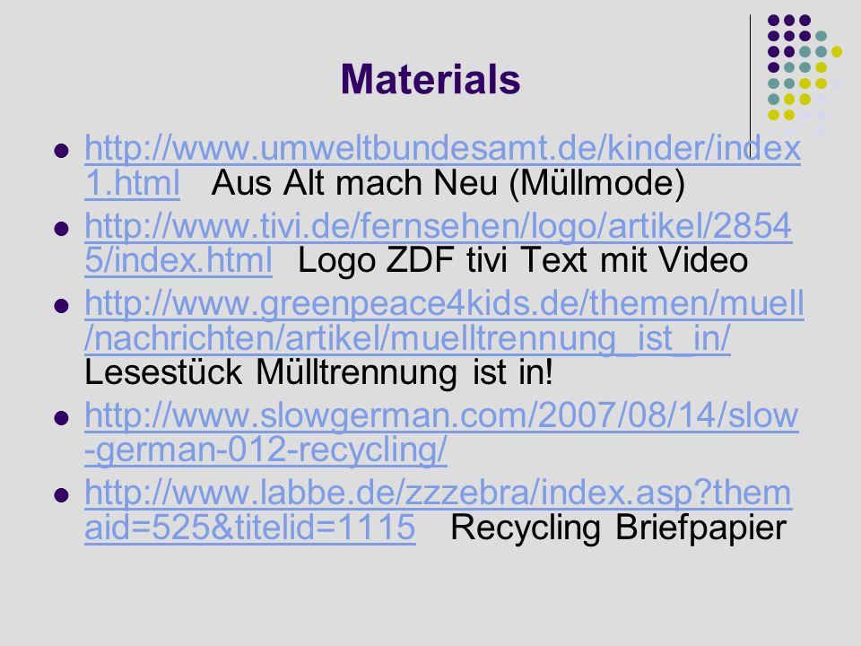 Materials http://www.umweltbundesamt.de/kinder/index 1.html Aus Alt mach Neu (Müllmode) http://www.umweltbundesamt.de/kinder/index 1.html http://www.t