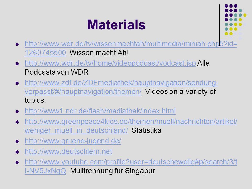 Materials http://www.wdr.de/tv/wissenmachtah/multimedia/miniah.php5?id= 1260745500 Wissen macht Ah! http://www.wdr.de/tv/wissenmachtah/multimedia/mini
