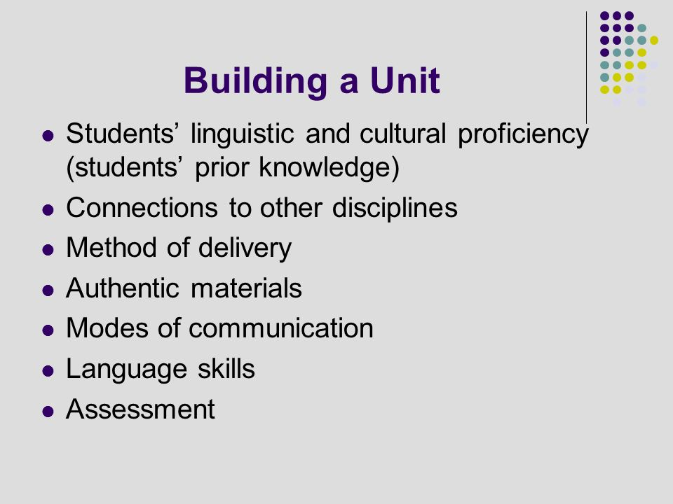Building a Unit Students linguistic and cultural proficiency (students prior knowledge) Connections to other disciplines Method of delivery Authentic