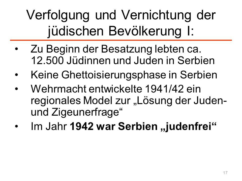 Verfolgung und Vernichtung der jüdischen Bevölkerung I: Zu Beginn der Besatzung lebten ca. 12.500 Jüdinnen und Juden in Serbien Keine Ghettoisierungsp