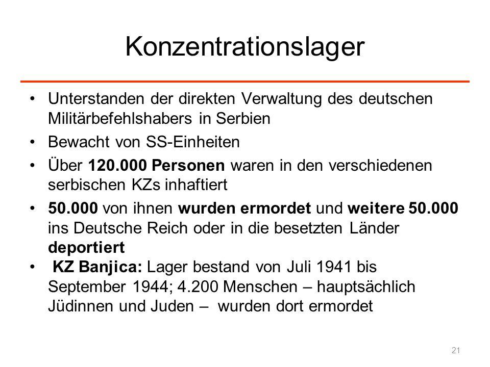 Konzentrationslager Unterstanden der direkten Verwaltung des deutschen Militärbefehlshabers in Serbien Bewacht von SS-Einheiten Über 120.000 Personen
