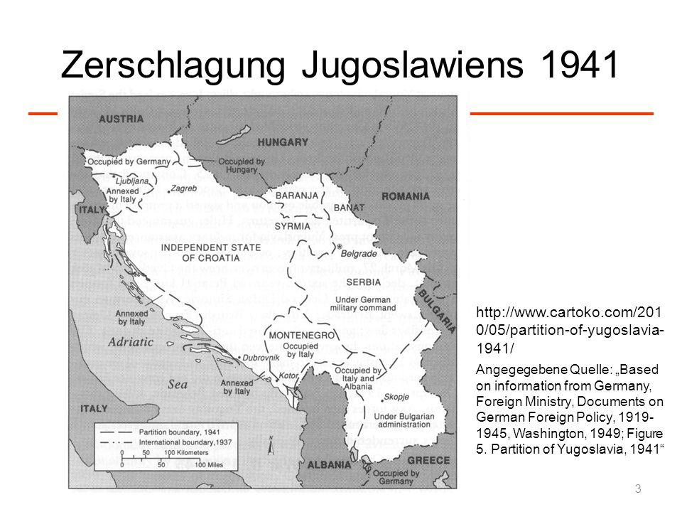 Widerstand Kommunistische Partisanen-Bewegung war die erste Widerstandsorganisation in Europa, die den bewaffneten, militärischen Kampf gegen die Nazi-Besatzer aufnahm Ziel war die nationale Gleichberechtigung aller Völker Jugoslawiens und er militärische Sieg über die deutschen Besatzer Gezielte militärische Aktionen gegen deutsche Funktionsträger Im Sommer/Herbst gab es zwischen 4.000 und 8.000 serbische Partisanen Serbische Partisanen konnten erst im Sommer 1944 wieder Fuß fassen und im Herbst/Winter 1944 mit der Roten Armee Serbien befreien 24