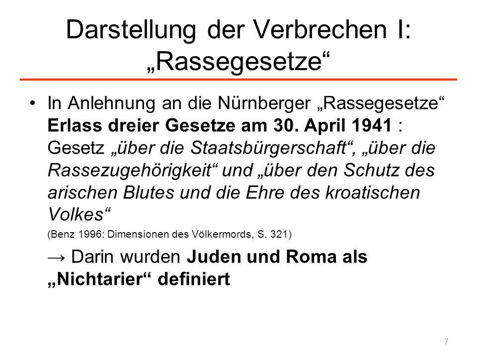 Darstellung der Verbrechen I: Rassegesetze In Anlehnung an die Nürnberger Rassegesetze Erlass dreier Gesetze am 30. April 1941 : Gesetz über die Staat