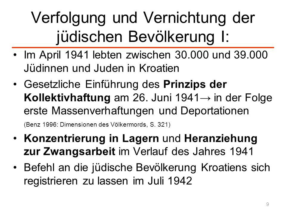 Verfolgung und Vernichtung der jüdischen Bevölkerung II Zwischen Herbst 1942 und April 1944 wurde die Judenfrage in Kroatien durch Deportationen erledigt: Deportationen von 5.000 Jüdinnen und Juden ins besetzte Polen Ermordung von 20.000 jüdischen Menschen im KZ Jasenovac Insgesamt wurden zwischen 20.000 und 25.000 Jüdinnen und Juden ermordet und weitere 7.000 in Vernichtungslager deportiert 10