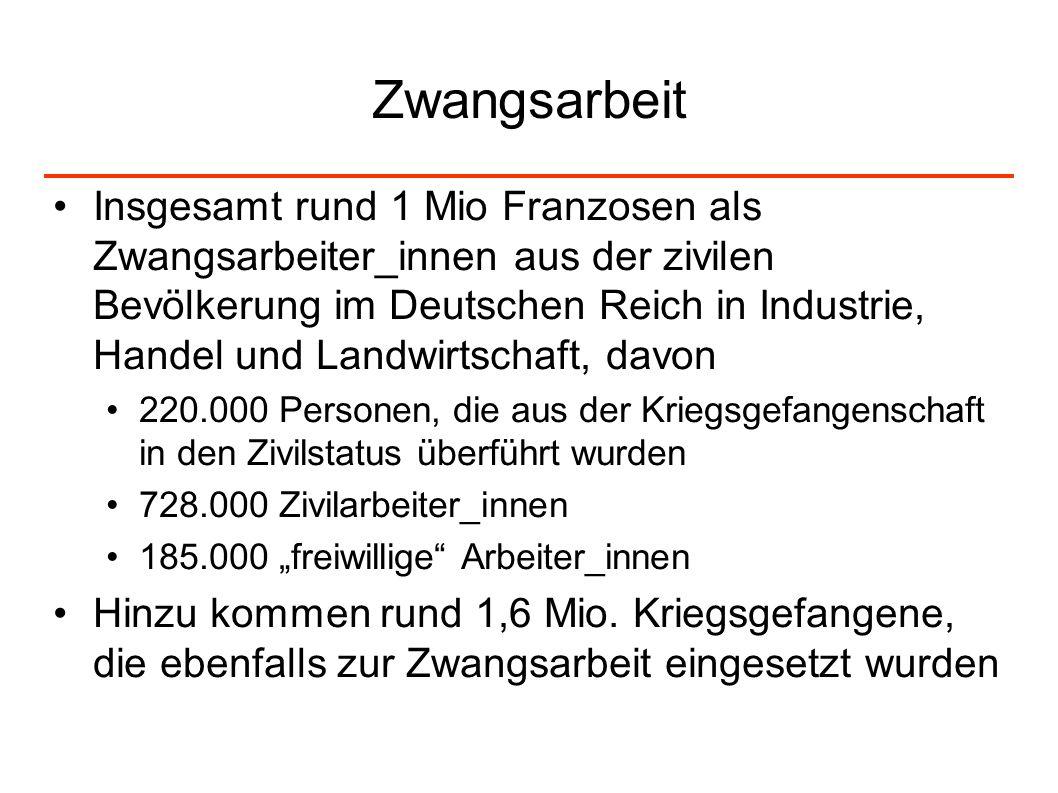 Zwangsarbeit Insgesamt rund 1 Mio Franzosen als Zwangsarbeiter_innen aus der zivilen Bevölkerung im Deutschen Reich in Industrie, Handel und Landwirts