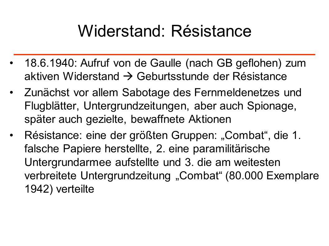 Widerstand: Résistance 18.6.1940: Aufruf von de Gaulle (nach GB geflohen) zum aktiven Widerstand Geburtsstunde der Résistance Zunächst vor allem Sabot