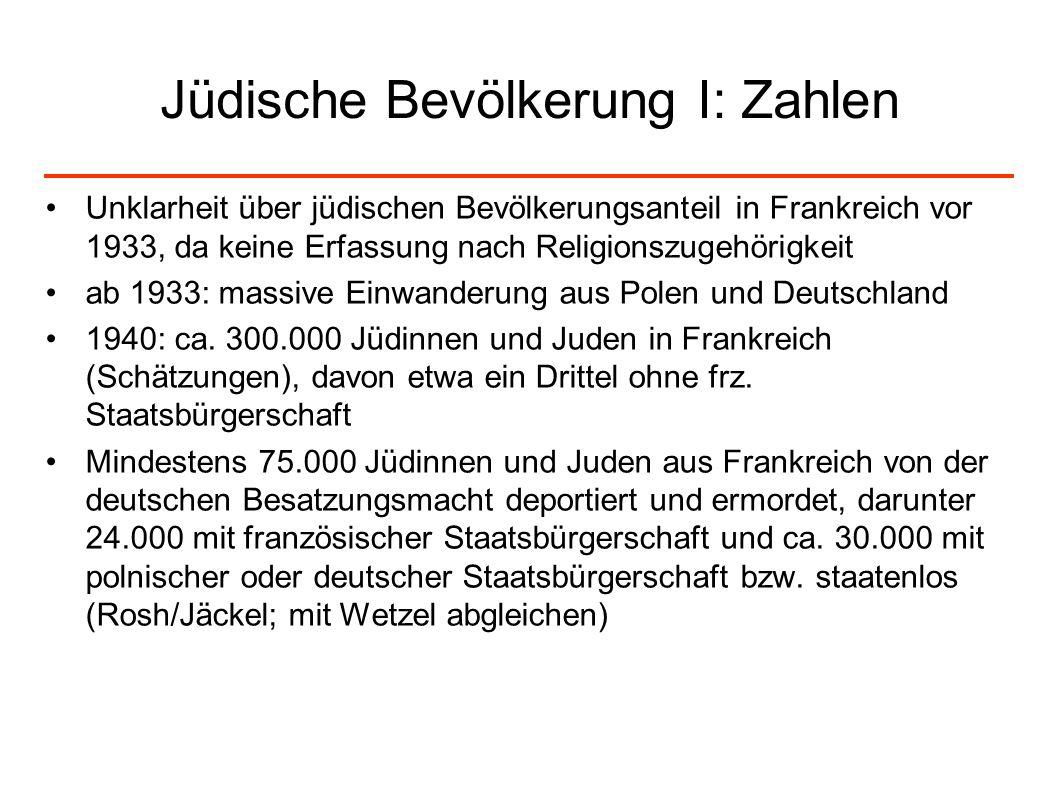 Jüdische Bevölkerung I: Zahlen Unklarheit über jüdischen Bevölkerungsanteil in Frankreich vor 1933, da keine Erfassung nach Religionszugehörigkeit ab