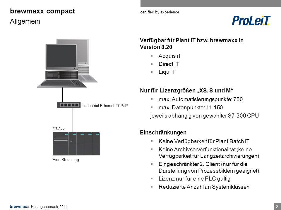 certified by experience 22 Verfügbar für Plant iT bzw.