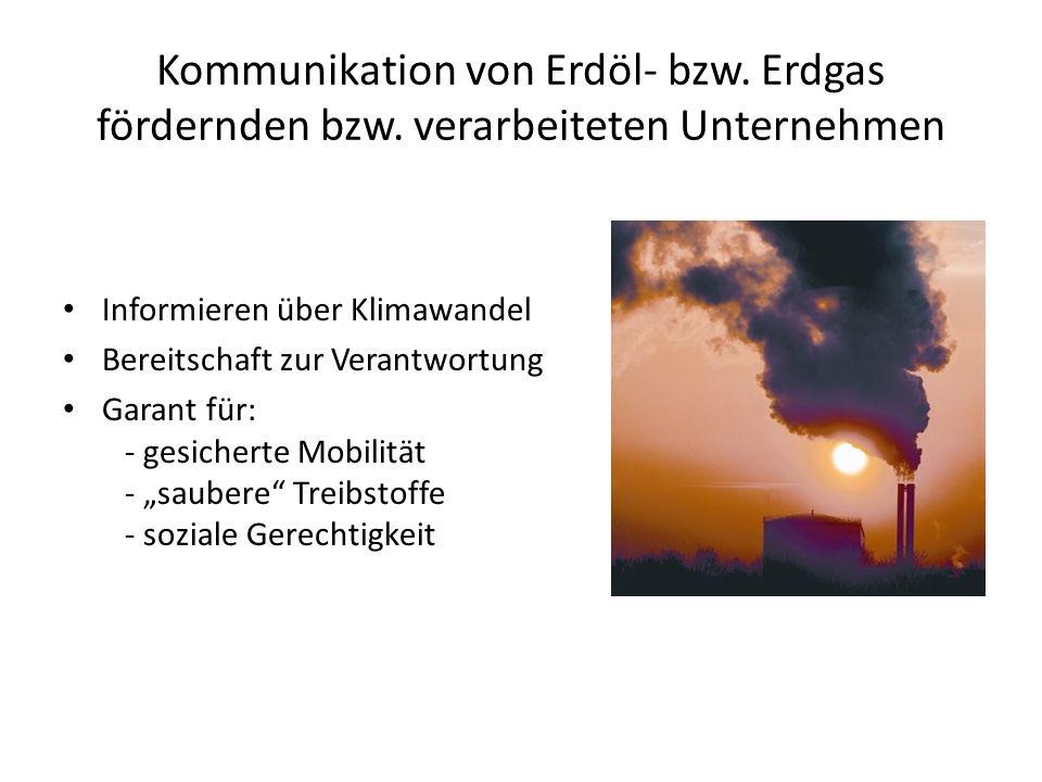 Kommunikation von Erdöl- bzw. Erdgas fördernden bzw. verarbeiteten Unternehmen Informieren über Klimawandel Bereitschaft zur Verantwortung Garant für: