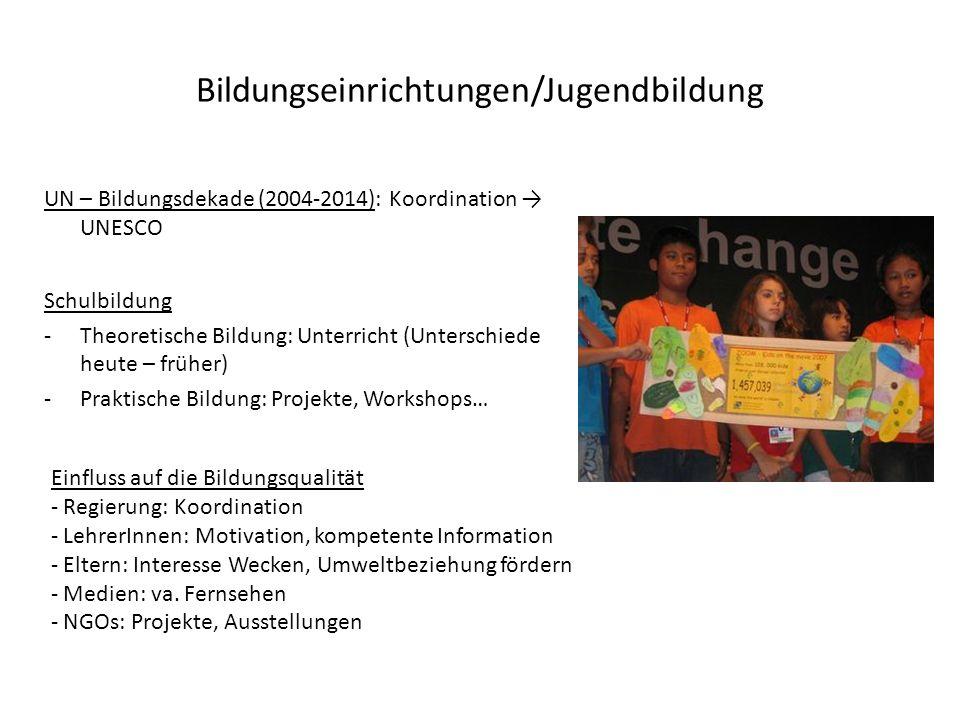Bildungseinrichtungen/Jugendbildung UN – Bildungsdekade (2004-2014): Koordination UNESCO Schulbildung -Theoretische Bildung: Unterricht (Unterschiede
