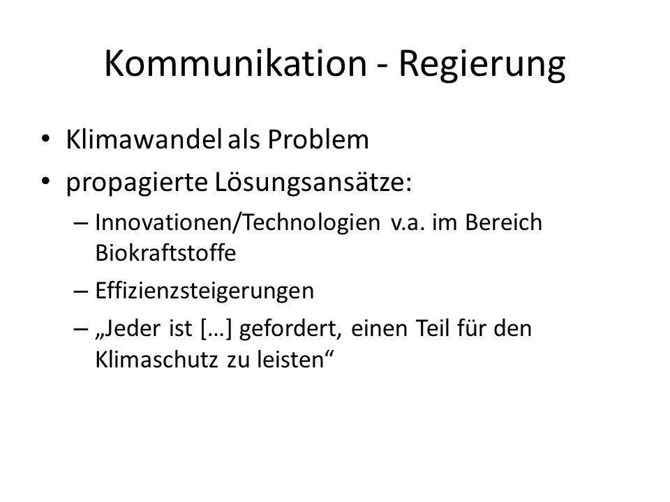 Kommunikation - Regierung Klimawandel als Problem propagierte Lösungsansätze: – Innovationen/Technologien v.a. im Bereich Biokraftstoffe – Effizienzst