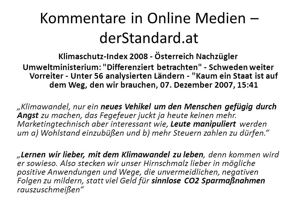 Kommentare in Online Medien – derStandard.at Klimaschutz-Index 2008 - Österreich Nachzügler Umweltministerium: