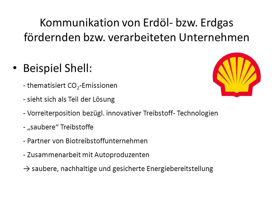 Kommunikation von Erdöl- bzw. Erdgas fördernden bzw. verarbeiteten Unternehmen Beispiel Shell: - thematisiert CO 2 -Emissionen - sieht sich als Teil d