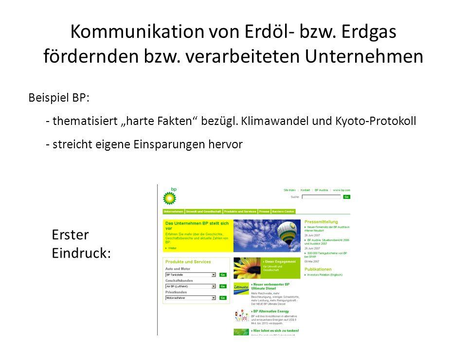 Kommunikation von Erdöl- bzw. Erdgas fördernden bzw. verarbeiteten Unternehmen Beispiel BP: - thematisiert harte Fakten bezügl. Klimawandel und Kyoto-