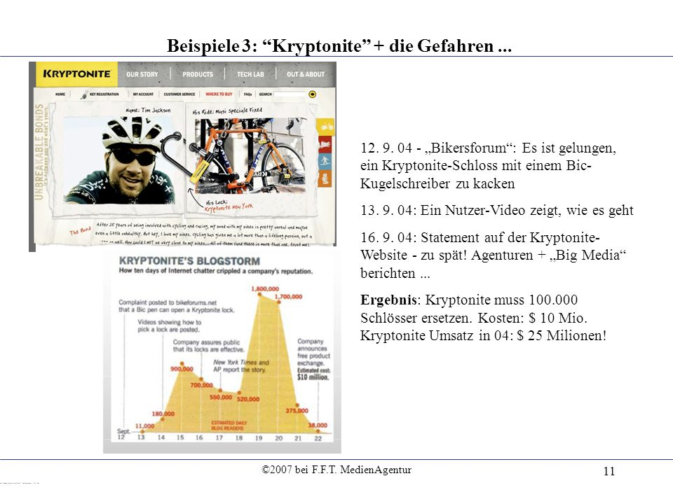 ©2007 bei F.F.T. MedienAgentur 11 Beispiele 3: Kryptonite + die Gefahren... 12. 9. 04 - Bikersforum: Es ist gelungen, ein Kryptonite-Schloss mit einem