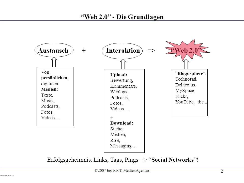 ©2007 bei F.F.T. MedienAgentur 2 Austausch+Interaktion => Web 2.0 Von persönlichen, digitalen Medien: Texte, Musik, Podcasts, Fotos, Videos … Upload: