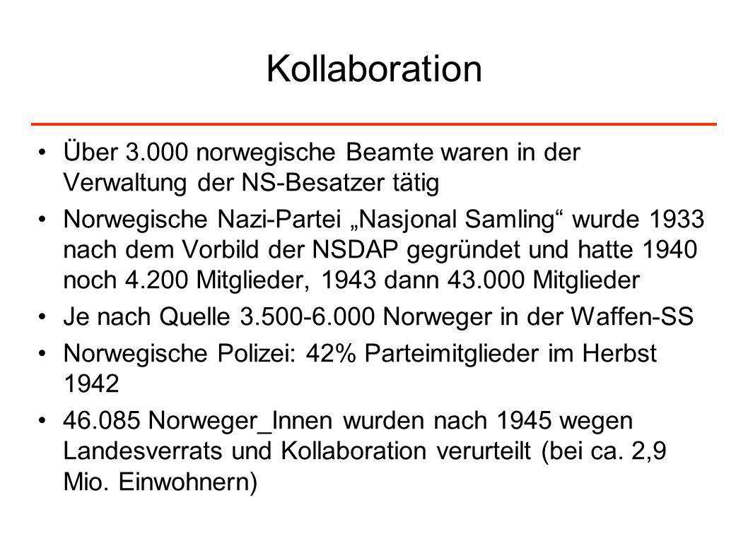 Kollaboration Über 3.000 norwegische Beamte waren in der Verwaltung der NS-Besatzer tätig Norwegische Nazi-Partei Nasjonal Samling wurde 1933 nach dem