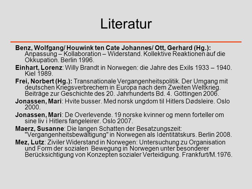Literatur Benz, Wolfgang/ Houwink ten Cate Johannes/ Ott, Gerhard (Hg.): Anpassung – Kollaboration – Widerstand. Kollektive Reaktionen auf die Okkupat
