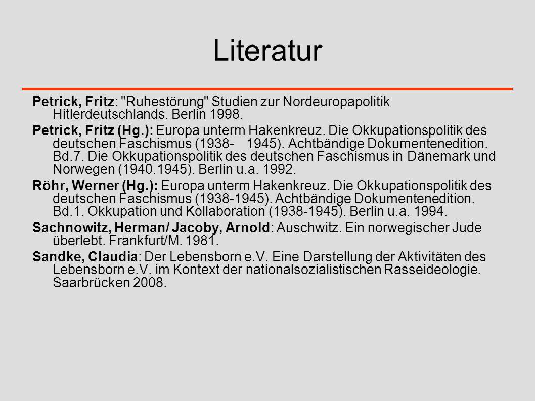 Literatur Petrick, Fritz:
