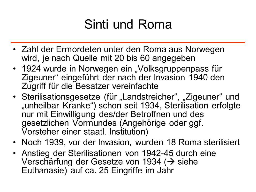 Sinti und Roma Zahl der Ermordeten unter den Roma aus Norwegen wird, je nach Quelle mit 20 bis 60 angegeben 1924 wurde in Norwegen ein Volksgruppenpas