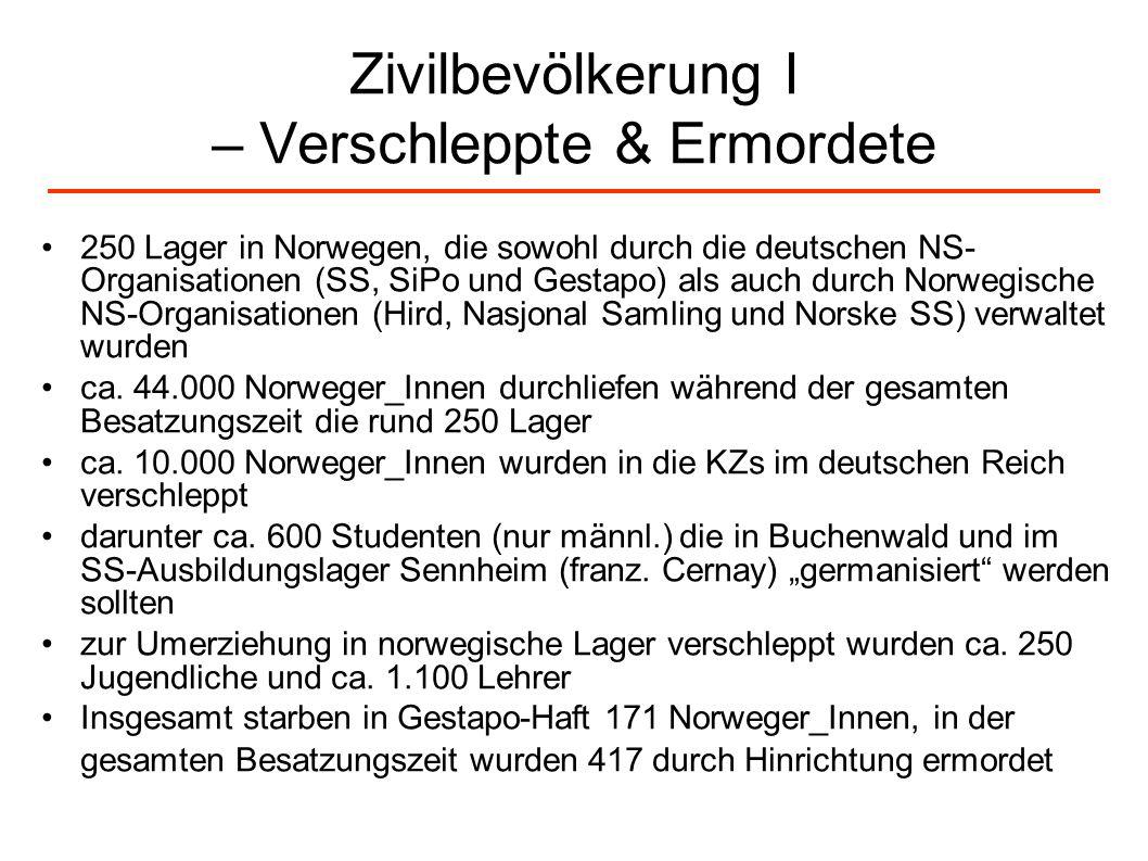 Zivilbevölkerung I – Verschleppte & Ermordete 250 Lager in Norwegen, die sowohl durch die deutschen NS- Organisationen (SS, SiPo und Gestapo) als auch
