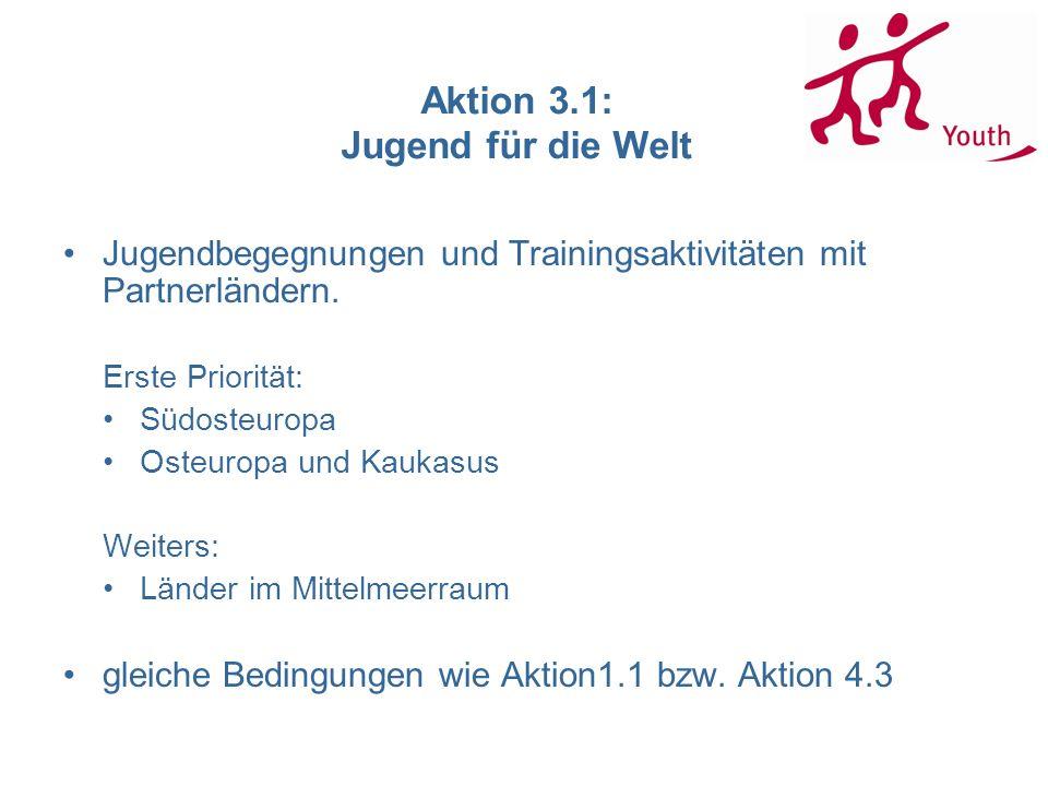 Aktion 3.1: Jugend für die Welt Jugendbegegnungen und Trainingsaktivitäten mit Partnerländern. Erste Priorität: Südosteuropa Osteuropa und Kaukasus We