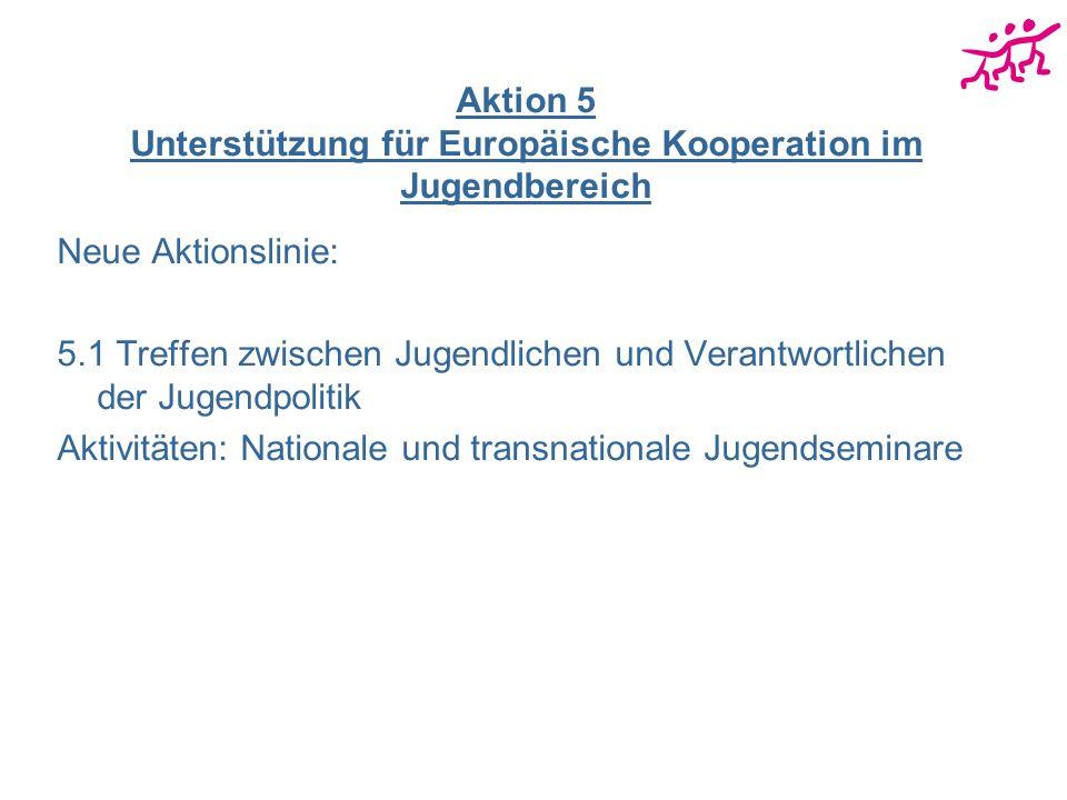 Aktion 5 Unterstützung für Europäische Kooperation im Jugendbereich Neue Aktionslinie: 5.1 Treffen zwischen Jugendlichen und Verantwortlichen der Jugendpolitik Aktivitäten: Nationale und transnationale Jugendseminare